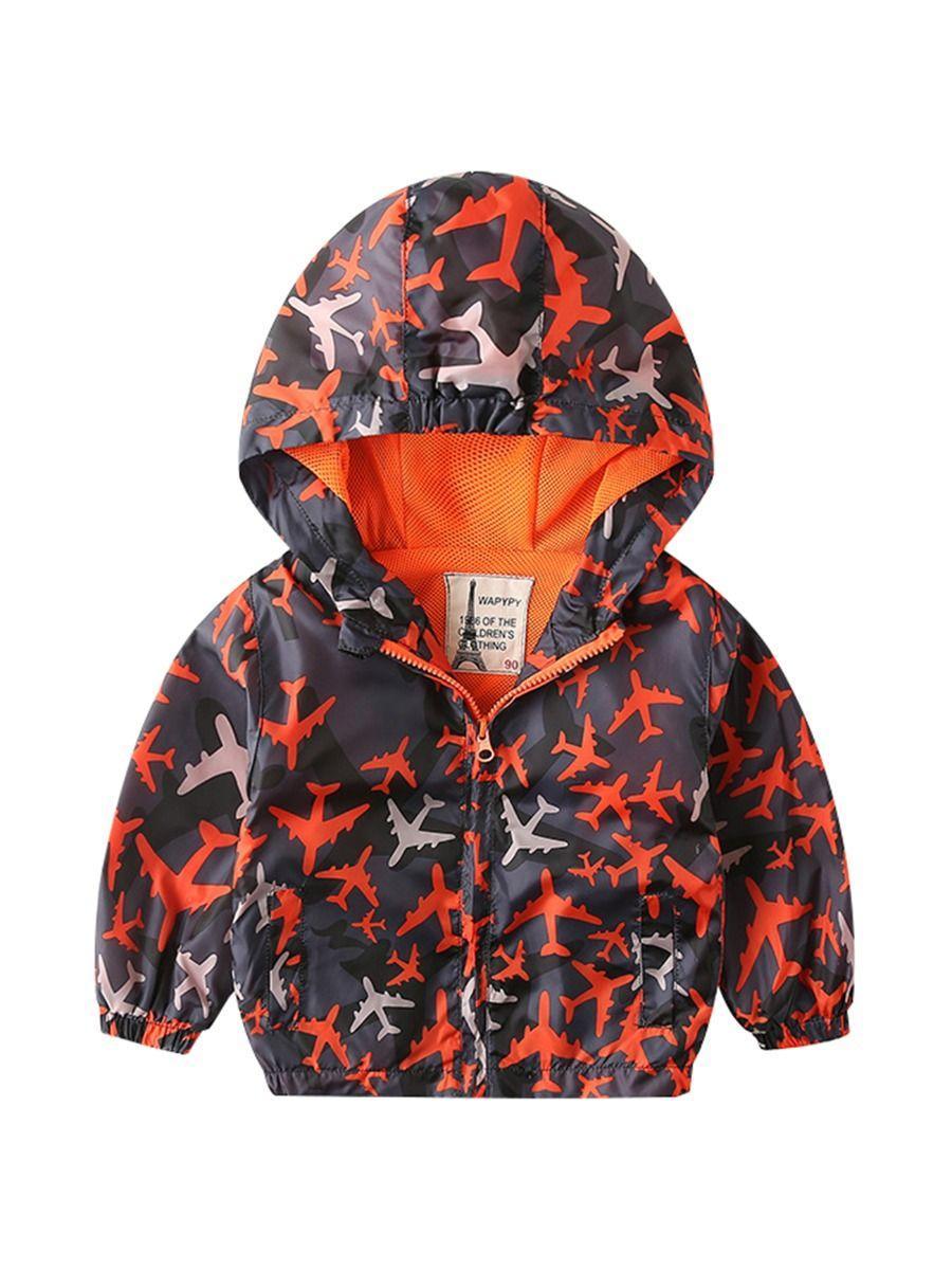 Autumn Allover Print Toddler Little Boy Hooded Jacket 3