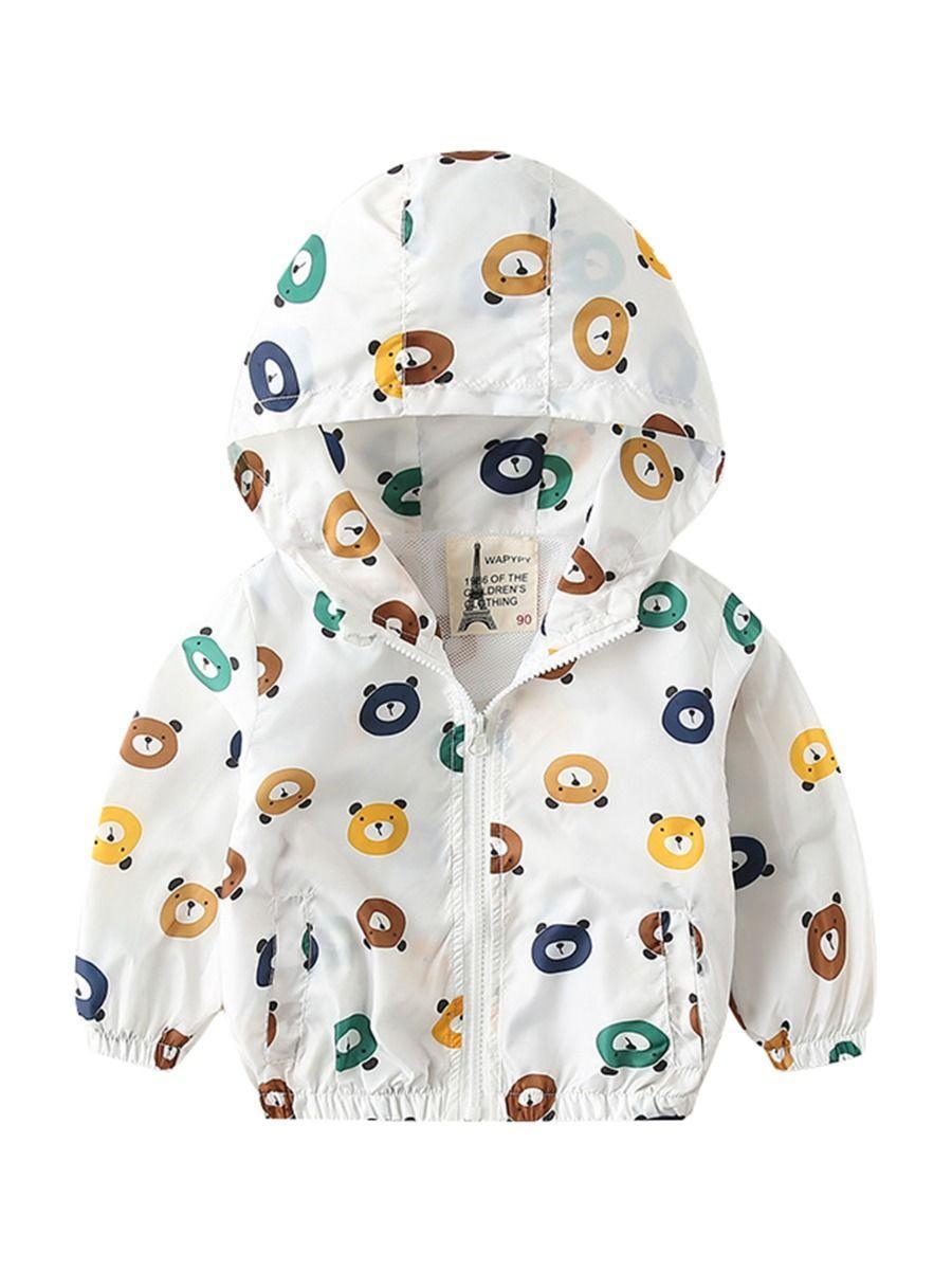 Autumn Allover Print Toddler Little Boy Hooded Jacket 4