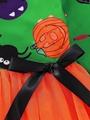Halloween Baby Toddler Girl Pumpkin Ghost Printed Mesh Patchwork Dress 5
