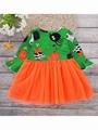 Halloween Baby Toddler Girl Pumpkin Ghost Printed Mesh Patchwork Dress 2