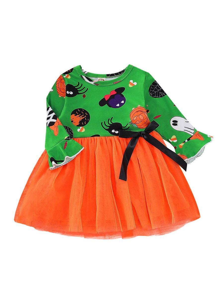 Halloween Baby Toddler Girl Pumpkin Ghost Printed Mesh Patchwork Dress 1
