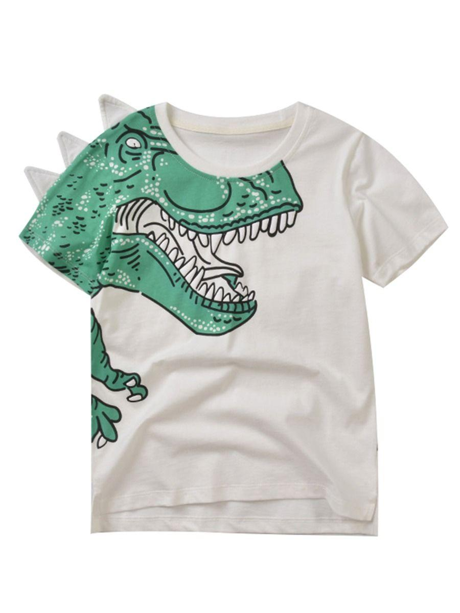 Toddler Big Boys Dinosaur T-shirt white color the front side