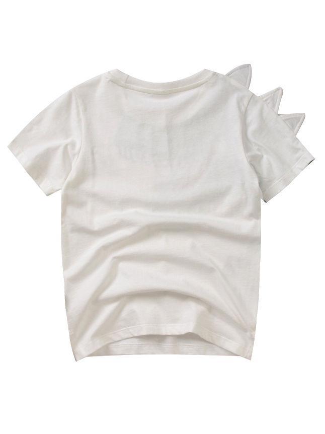 Toddler Big Boys Dinosaur T-shirt white color the back side