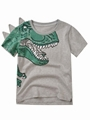 Toddler Big Boys Dinosaur T-shirt gray color the front side