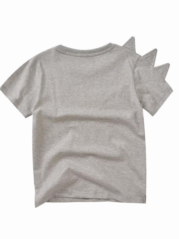 Toddler Big Boys Dinosaur T-shirt gray color the back side