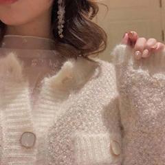 开衫外套女针织秋冬小香风微闪撞色宽松质感毛衣针织开衫
