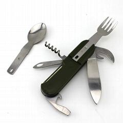 Multi Portable Folding Fork Spoon Knife Set Bottle Opener Outdoor Tableware