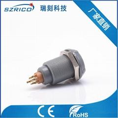 厂家直销塑料0P3芯/pin/孔插头插座微型血氧探头圆形连接器灰10MM