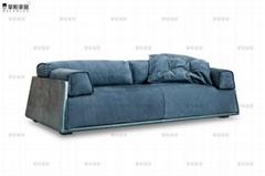 掌柜家居北欧全真皮沙发头层牛皮客厅三人位设计师复古风格沙发