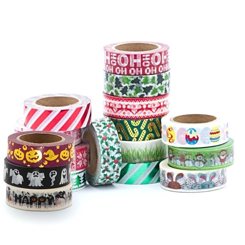 Wholesale custom printed assorted design washi tape decorative school stationery 3