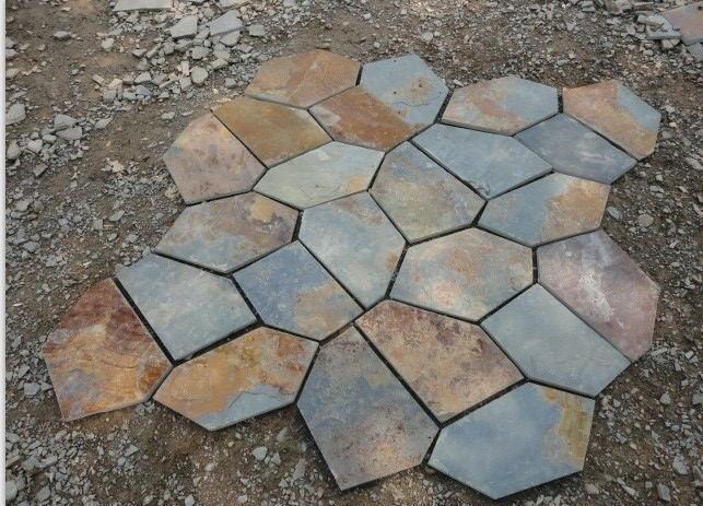青石板鏽板岩 碎石板 路鋪路石 天然鏽色碎拼文化石 1