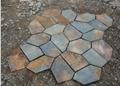 青石板锈板岩 碎石板 路铺路石