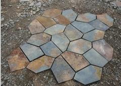 青石板锈板岩 碎石板 路铺路石 天然锈色碎拼文化石