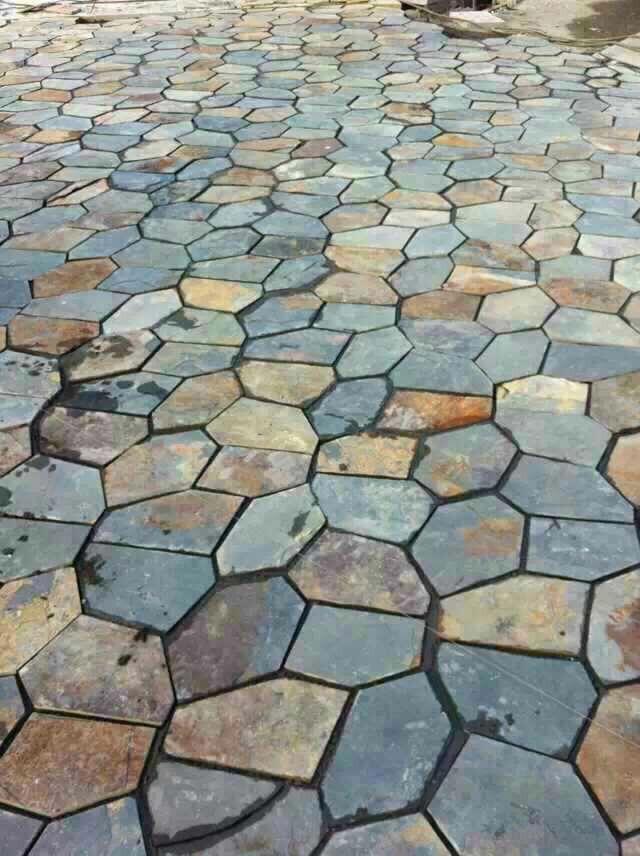 青石板鏽板岩 碎石板 路鋪路石 天然鏽色碎拼文化石 5