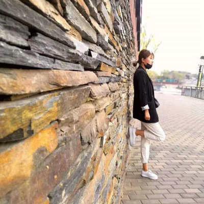 不規則亂邊毛邊條石材 天然板岩文化青石板 亂條庭院花園花池壁爐 1