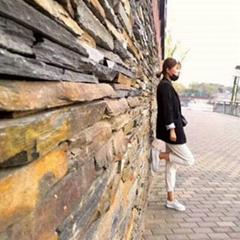 不规则乱边毛边条石材 天然板岩文化青石板 乱条庭院花园花池壁炉