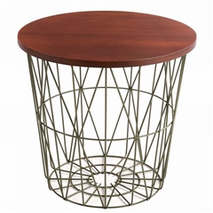 black Metal Wire Basket Wooden Top Side Table Storage Loft Living Home