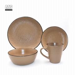 ceramic stoneware color glaze dinnerware set