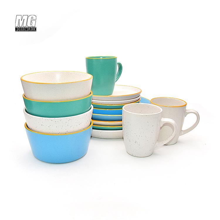 Colorful ceramic matte finish 16pcs dinnerware set stoneware 1