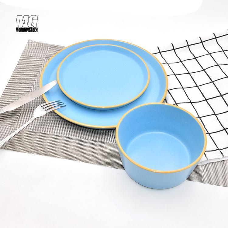 Colorful ceramic matte finish 16pcs dinnerware set stoneware 2