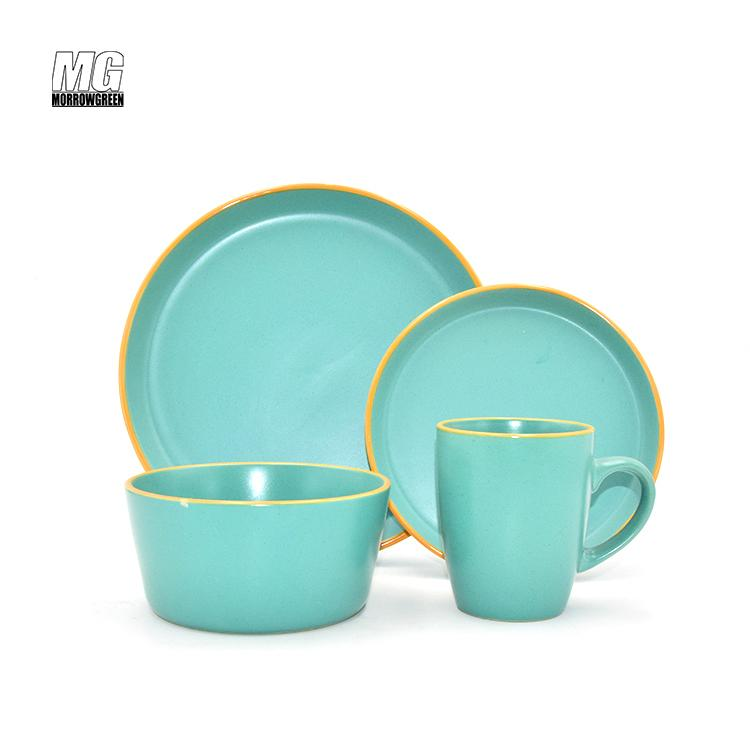 Colorful ceramic matte finish 16pcs dinnerware set stoneware 3