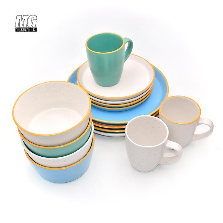 Colorful ceramic matte finish 16pcs dinnerware set stoneware 4