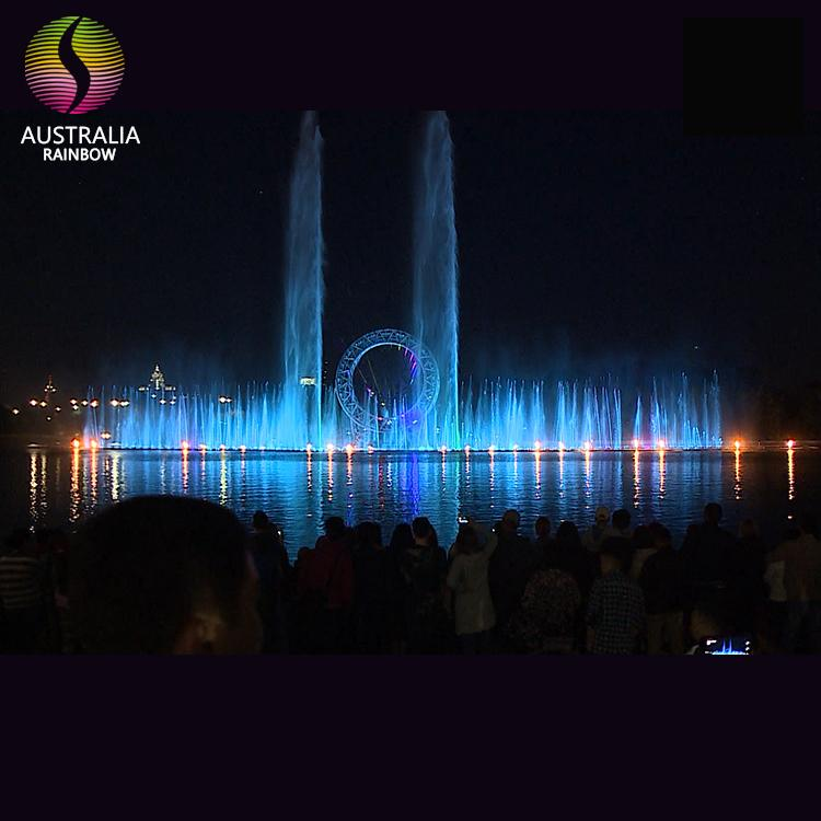 Outdoor Large Scale Multimedia Colorful Lights Dancing Fountain Floating in Lake 2