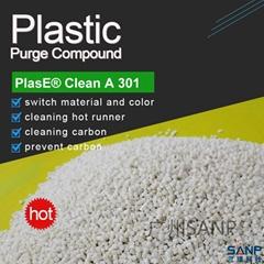 Purging compound for PET preform hot runner and screw barrel color change