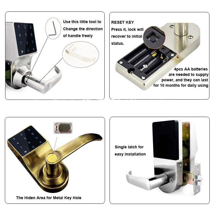 廠家熱銷智能觸屏電子密碼鎖 海外爆款智能鎖 Samrt lock 5
