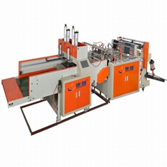 Newest desgin double-line full automatic t-shirt bag making machine