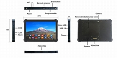 10 inch android 7.0 rugged tablet with RJ445RS232 USB Slot 4G lte