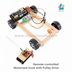 DIY Remote-controlled  Motorised truck with Pulley Drive