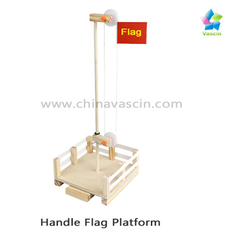DIY Hand-cracked Flag Platform with Pulleys&Axles Learning Toys Educational kits 1