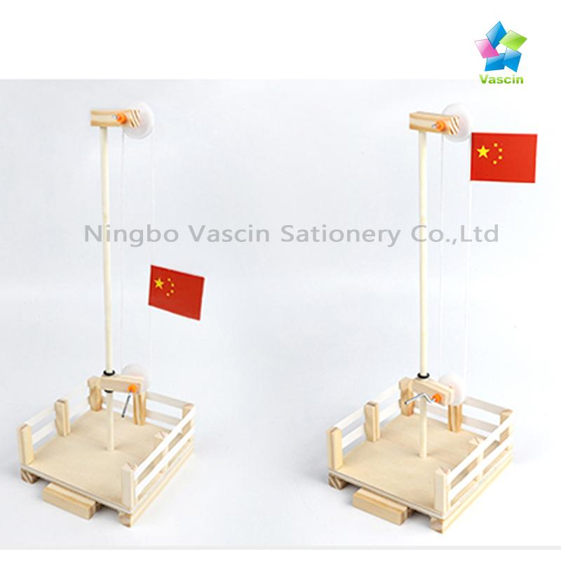 DIY Hand-cracked Flag Platform with Pulleys&Axles Learning Toys Educational kits 3