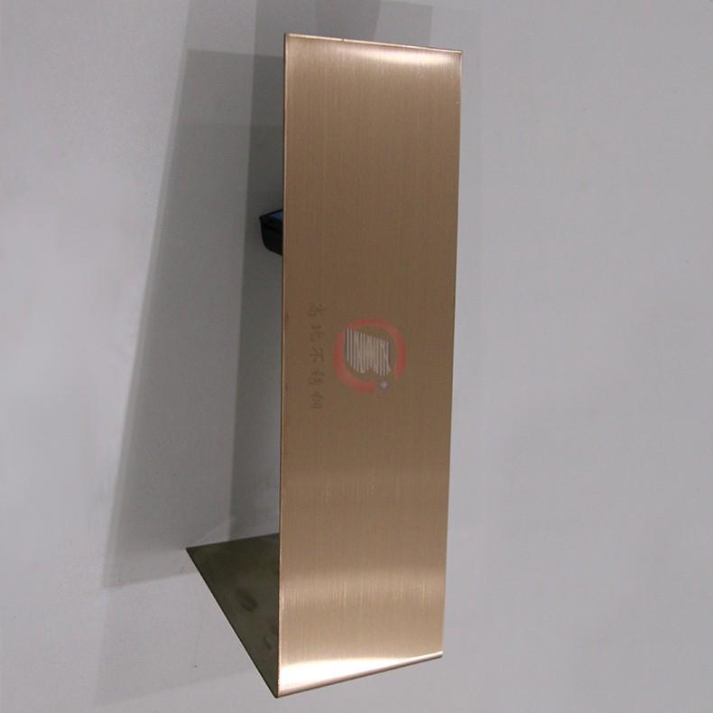 高比304不鏽鋼表面著色工藝 發紋真空鍍玫瑰金價格 2