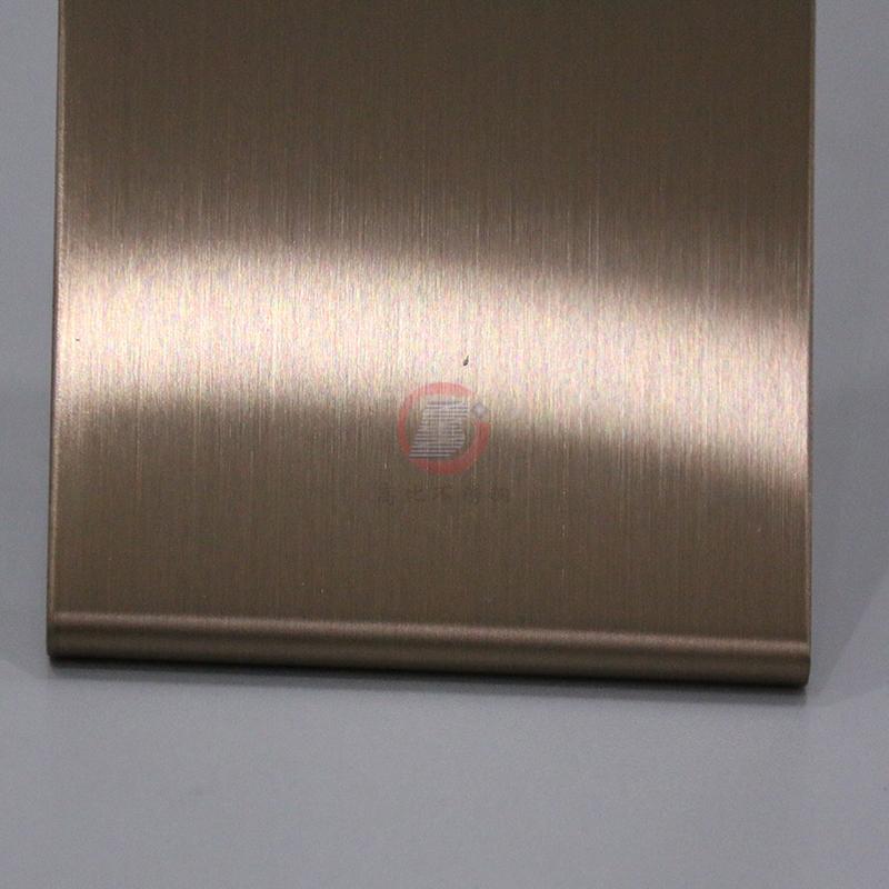 高比304不锈钢表面著色工艺 发纹真空镀玫瑰金价格 5