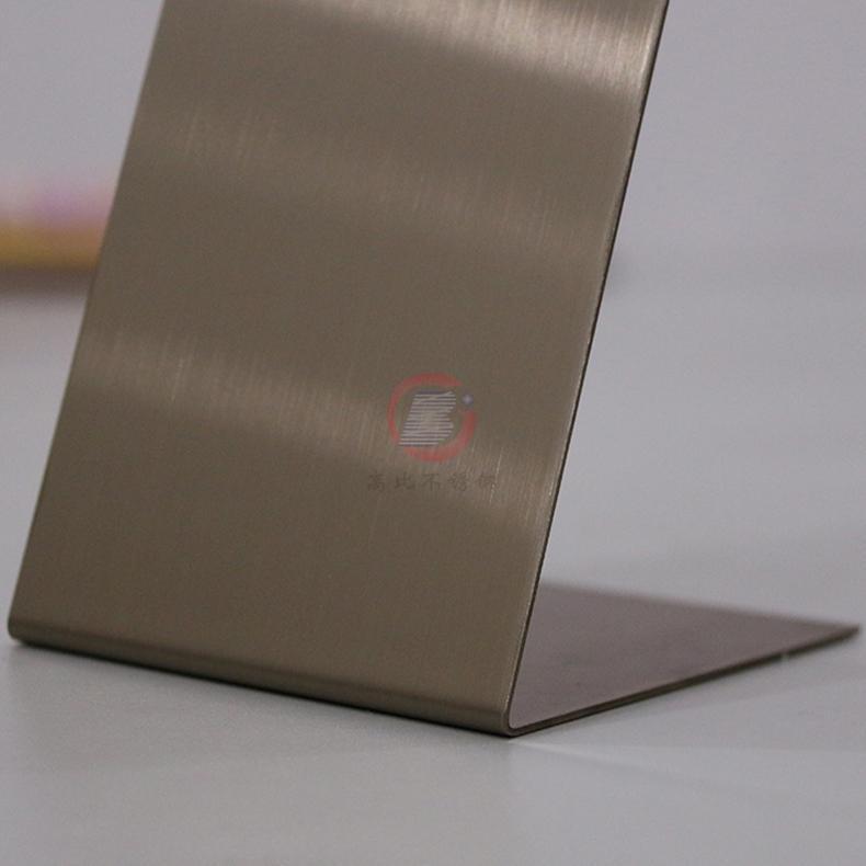 高比304彩色不锈钢著色加工 发纹不锈钢棕金 3