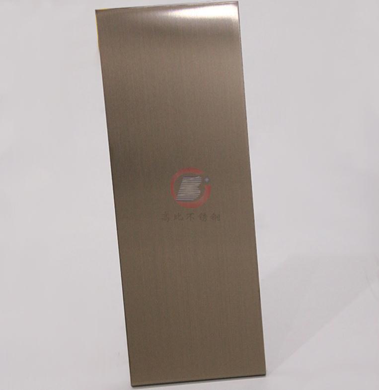 高比304彩色不锈钢著色加工 发纹不锈钢棕金 4