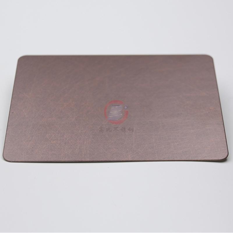高比亂紋不鏽鋼水鍍紫銅色  會所不鏽鋼門板材料 2