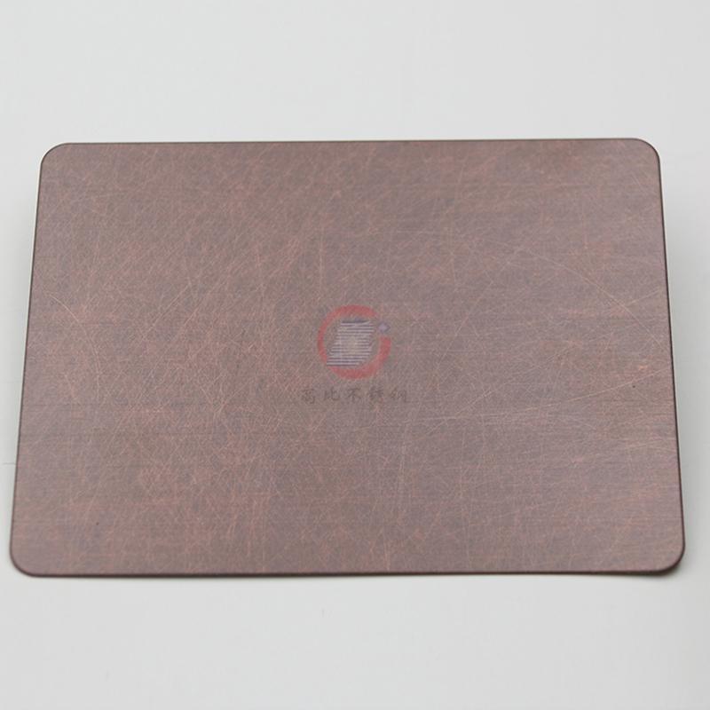 高比亂紋不鏽鋼水鍍紫銅色  會所不鏽鋼門板材料 3