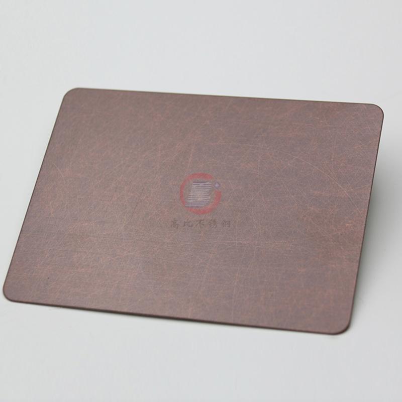 高比亂紋不鏽鋼水鍍紫銅色  會所不鏽鋼門板材料 4