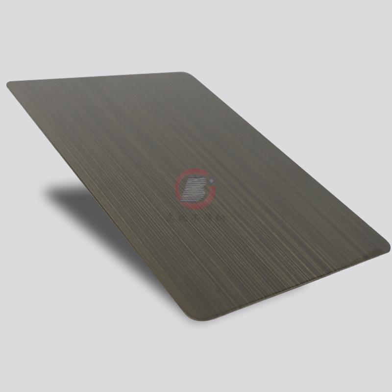 高比1802 砂带拉丝发黑青古铜不锈钢板  3