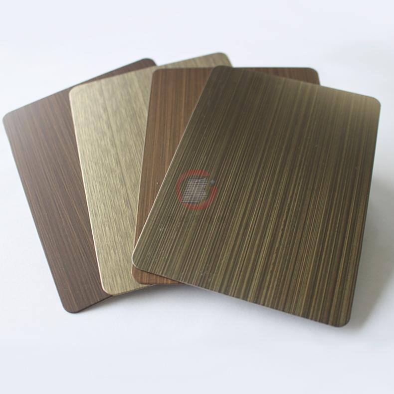 高比1802 砂带拉丝发黑青古铜不锈钢板  4