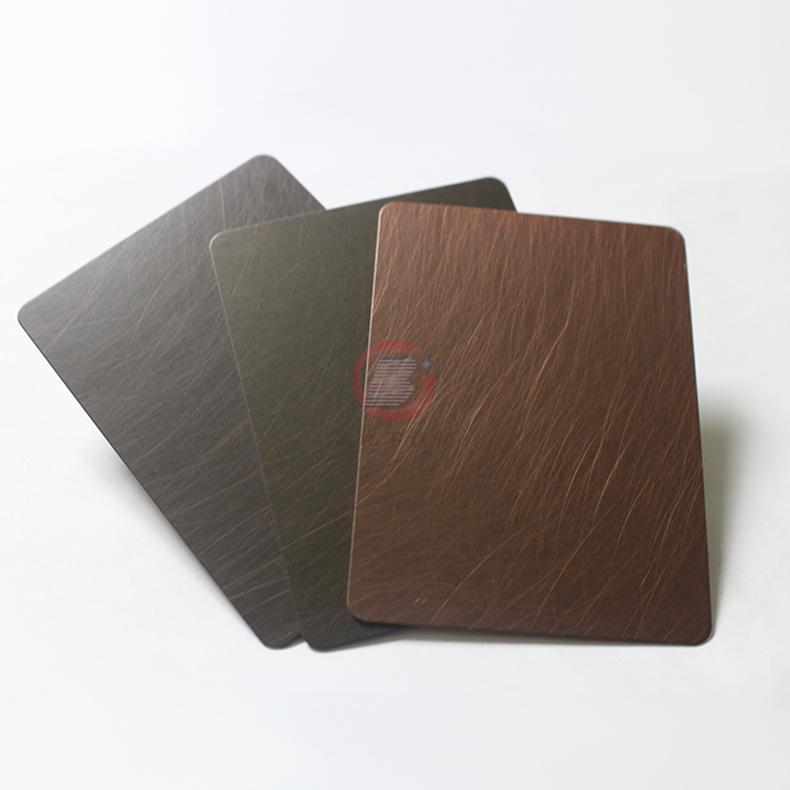 高比1814 手工乱纹红古铜发黑不锈钢 4