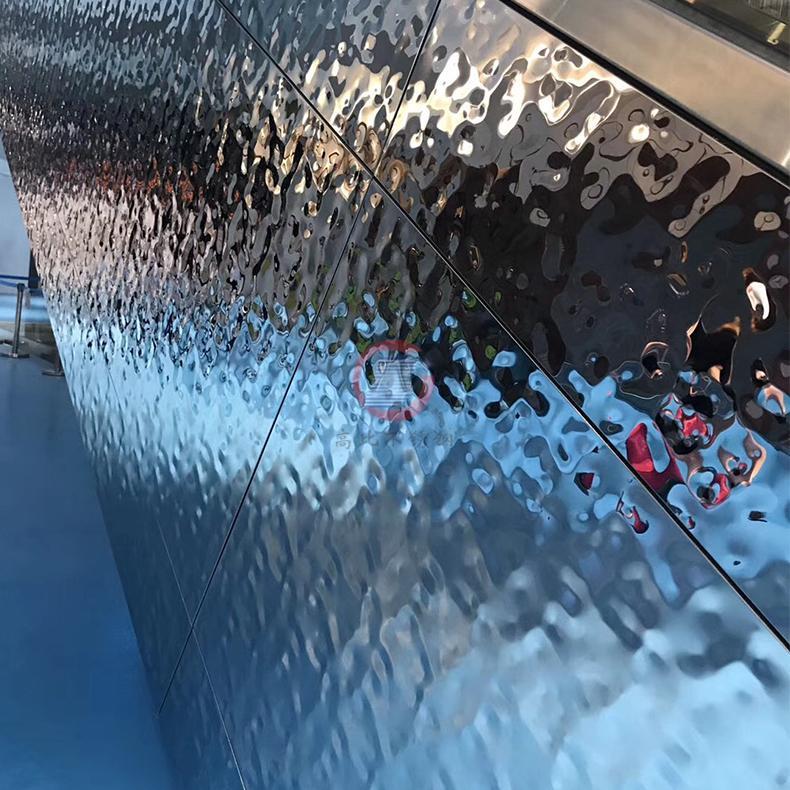 高比鏡面不鏽鋼中水波紋 商場立柱裝飾材料 1