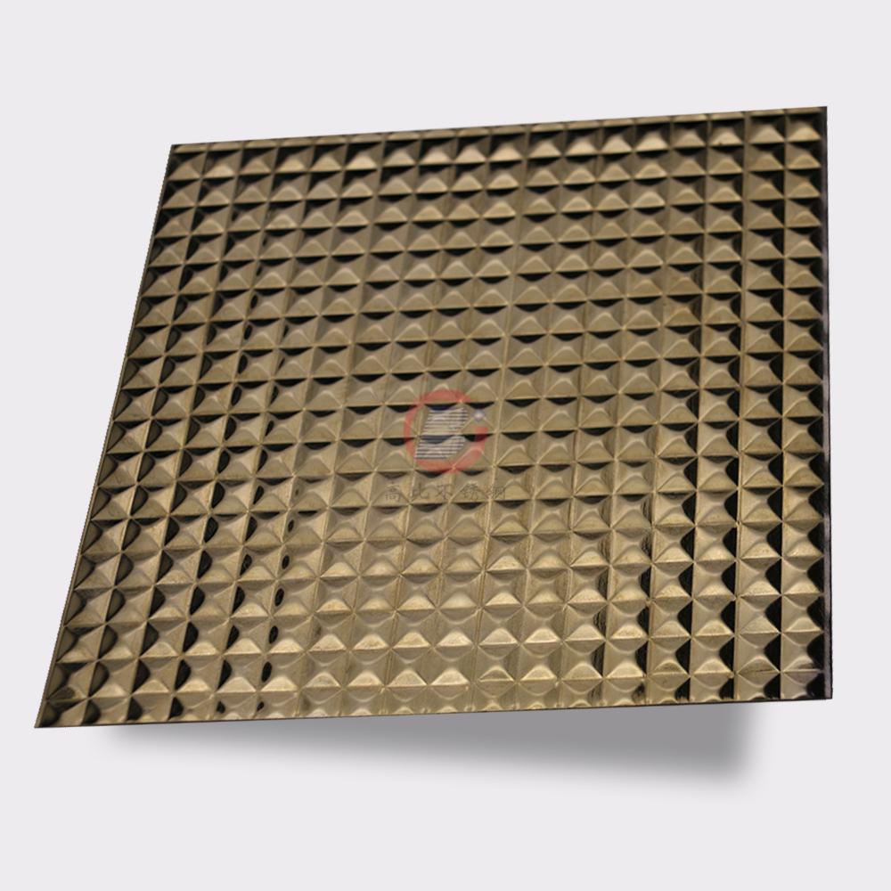 高比304不鏽鋼鏡面玫瑰金立方壓花 3