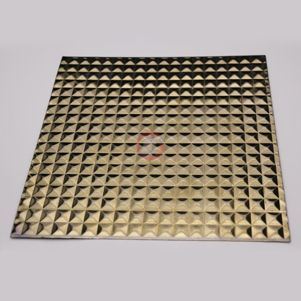 高比304不鏽鋼鏡面玫瑰金立方壓花 4