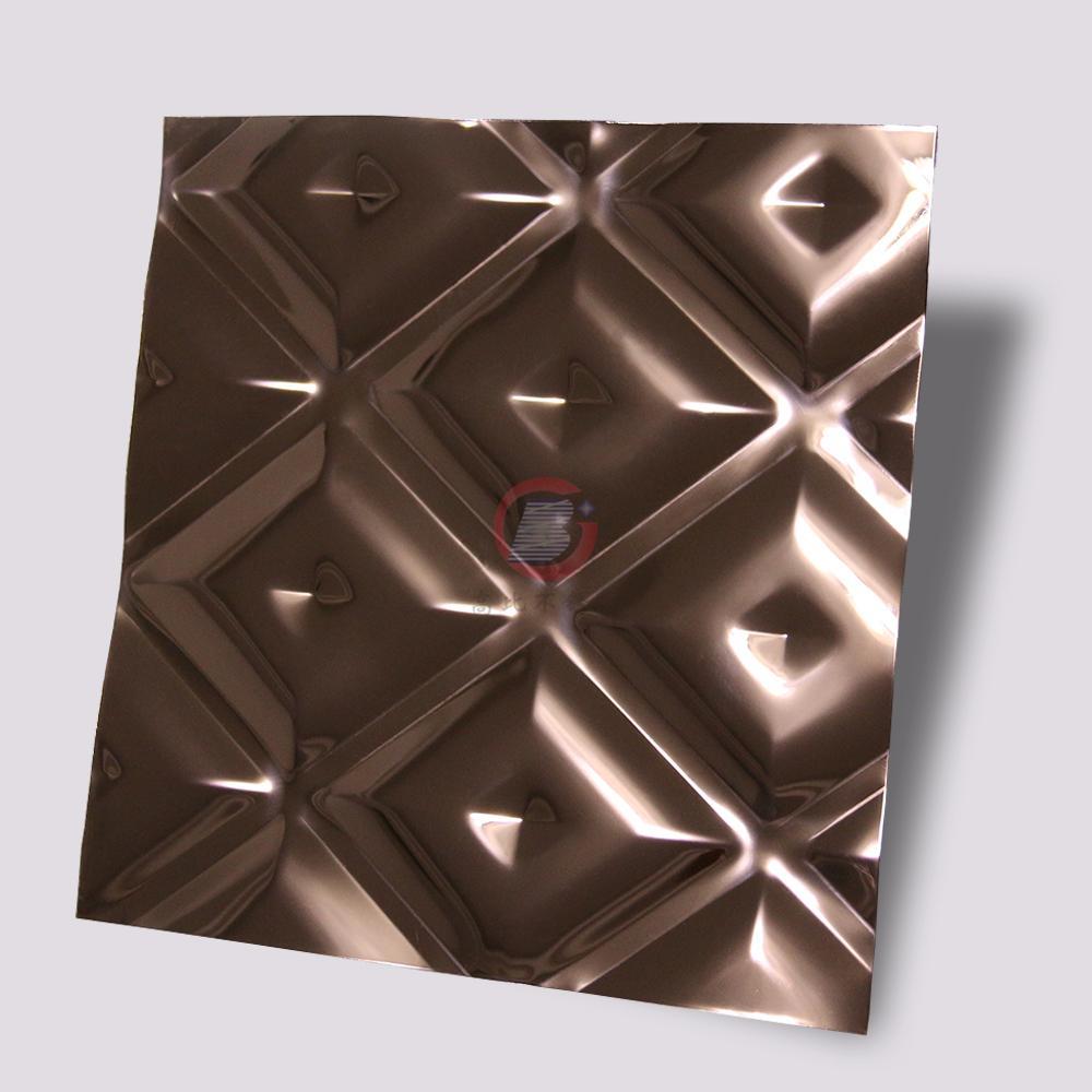 高比316L褐色不锈钢冲压方格花纹 1