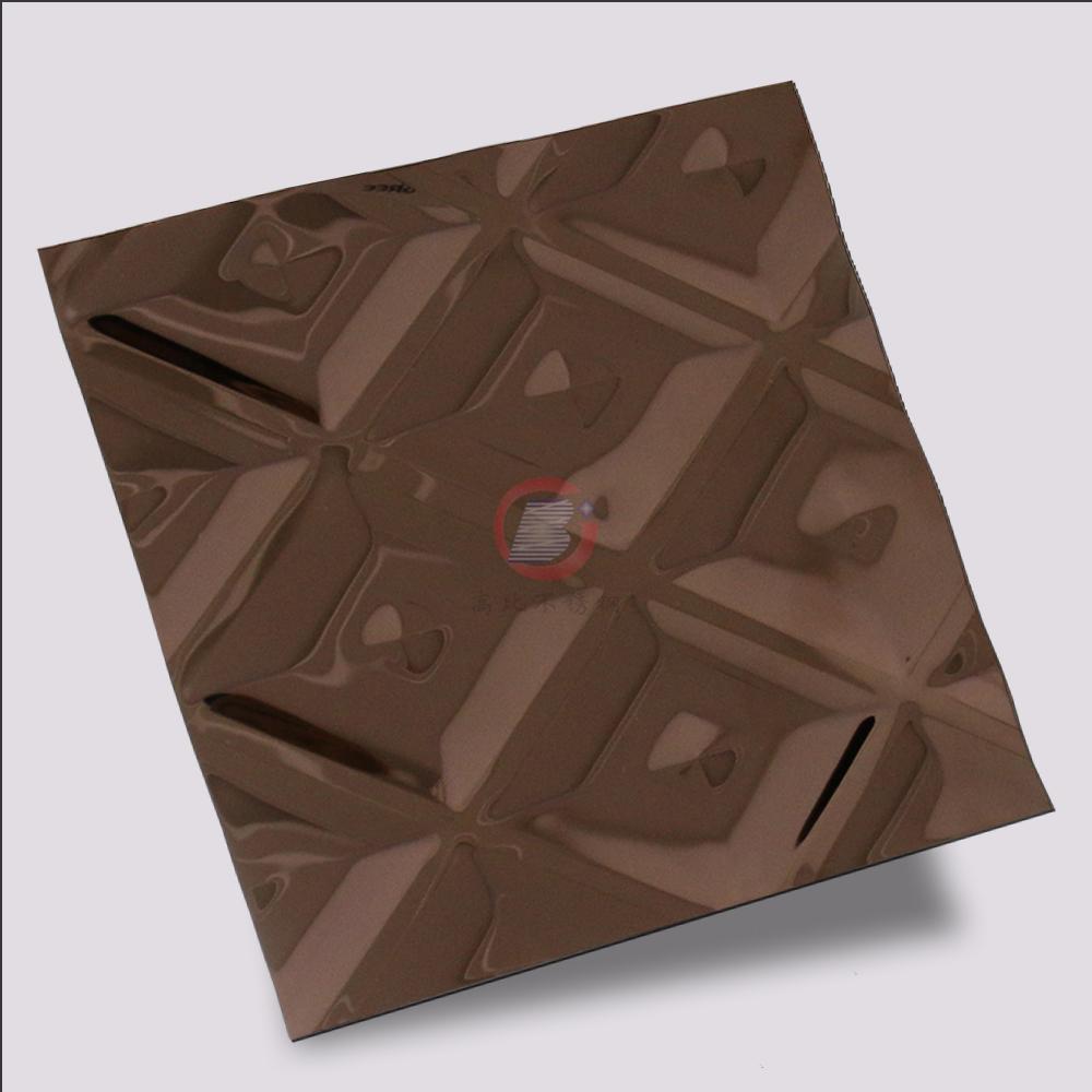 高比316L褐色不锈钢冲压方格花纹 2