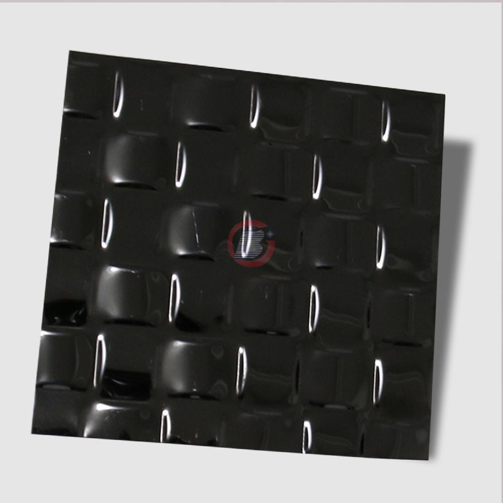 高比304不锈钢黑色镜面编织压花板 2